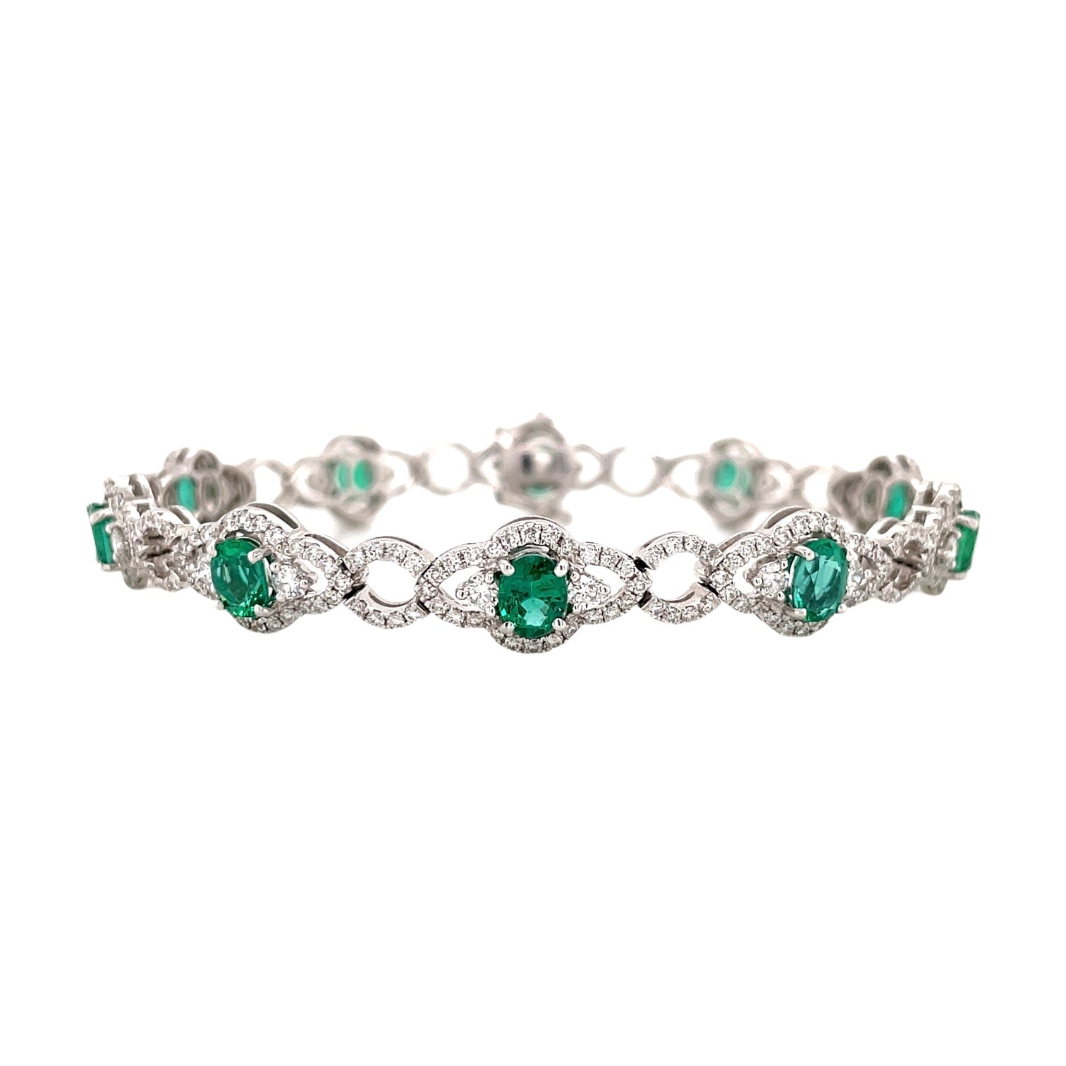 Emerald & Diamond Link Bracelet
