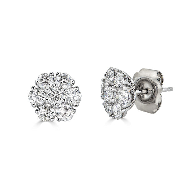 Diamond Cluster Flower Earring