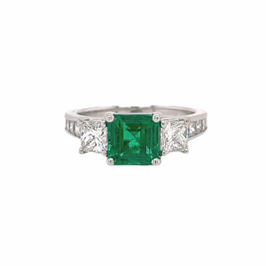 Three Stone Emerald & Princess Cut Diamond Ring