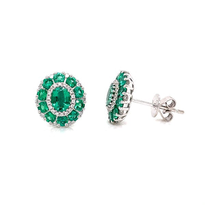 Emerald & Diamond Cluster Stud
