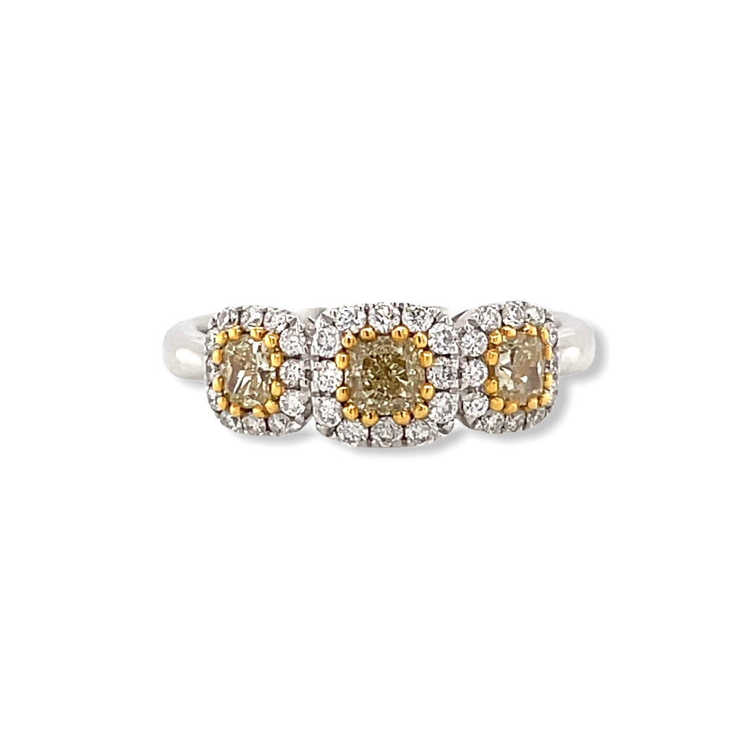 Three Stone Yellow Diamond Halo Ring