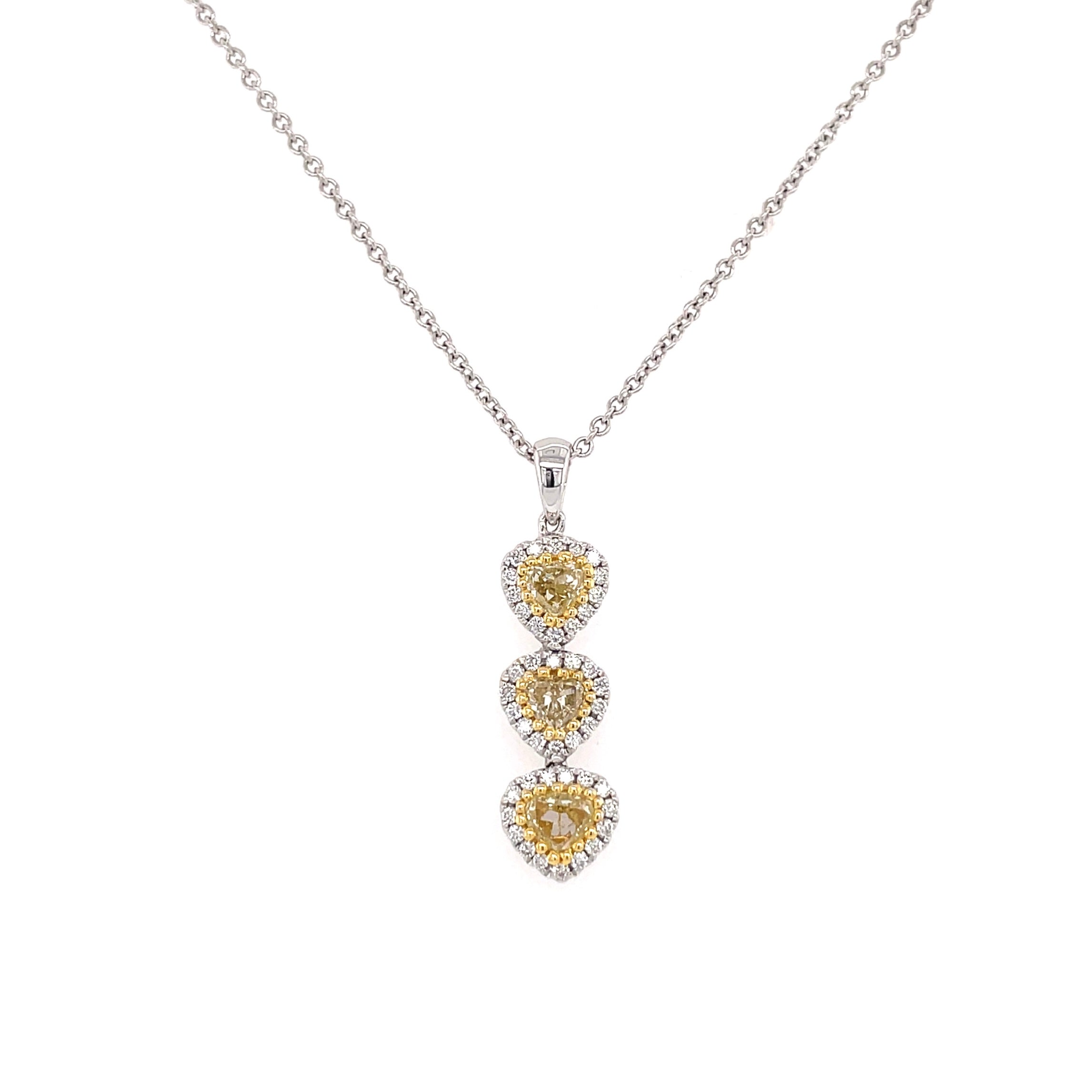 Mini Yellow Diamond Heart Drop Pendant
