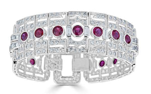 Wide Art Deco Ruby Bracelet