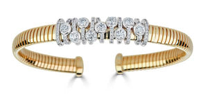 Wide Yellow Gold Diamond Bangle