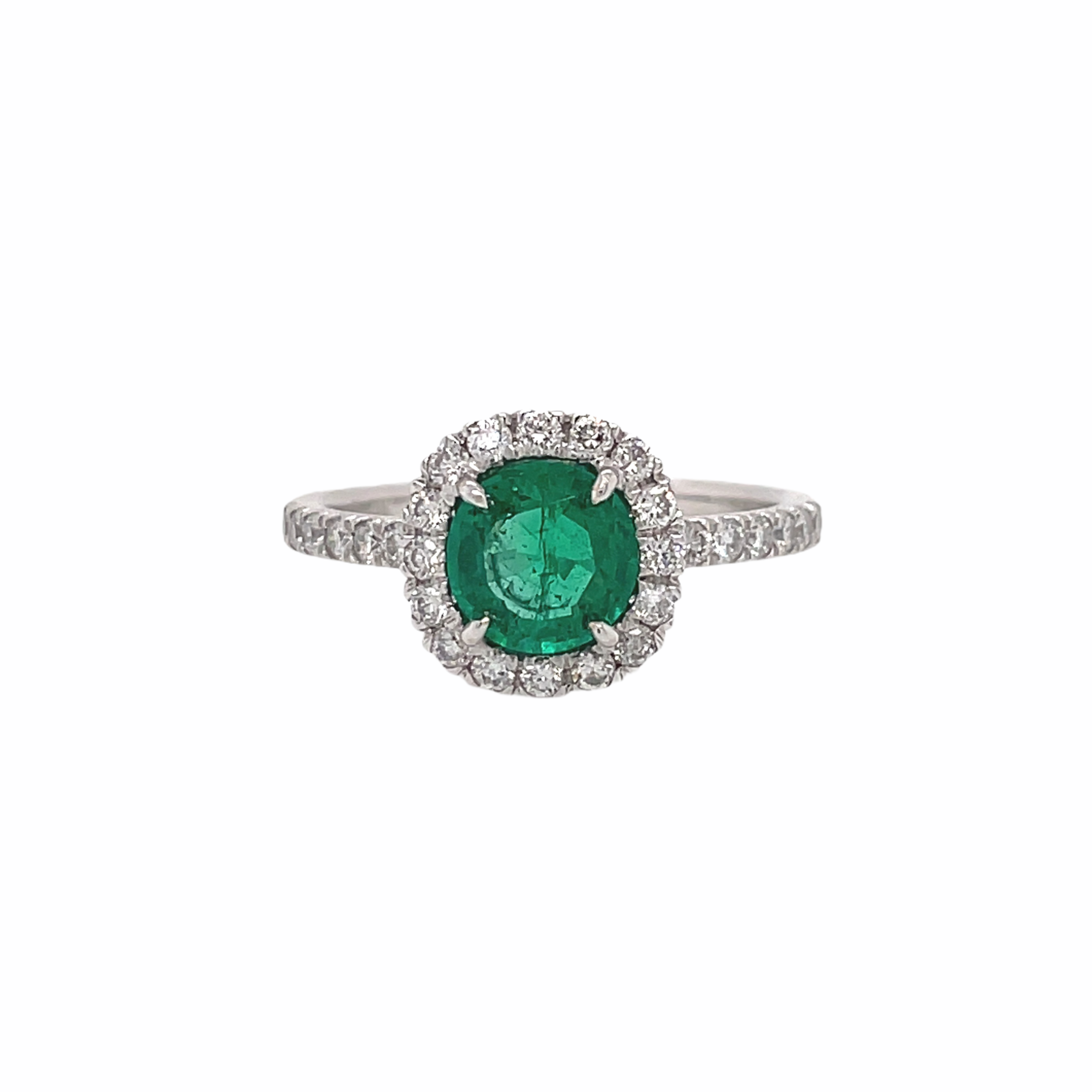 Round Emerald & Diamond Halo Ring