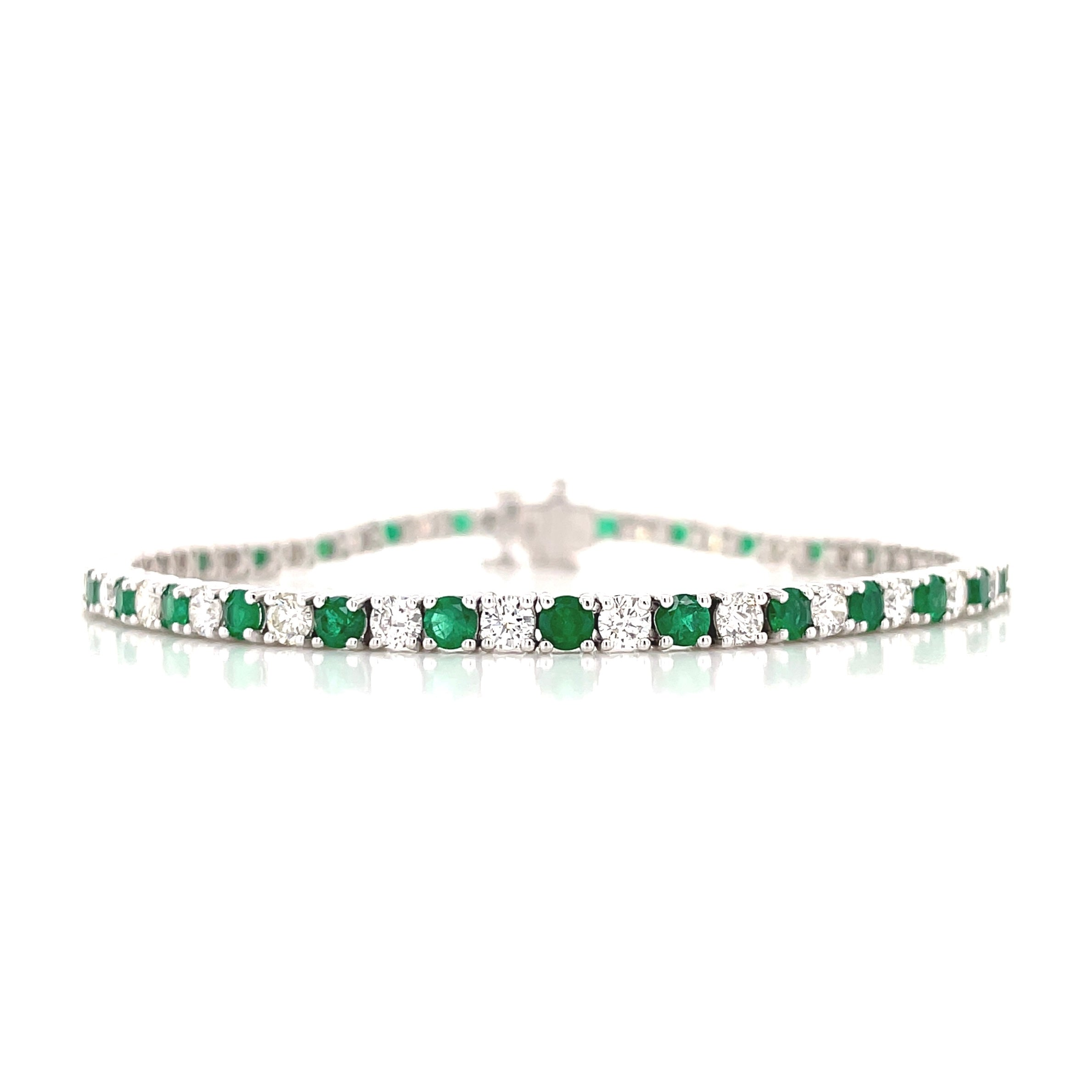 Alternating Emerald & Diamond Bracelet
