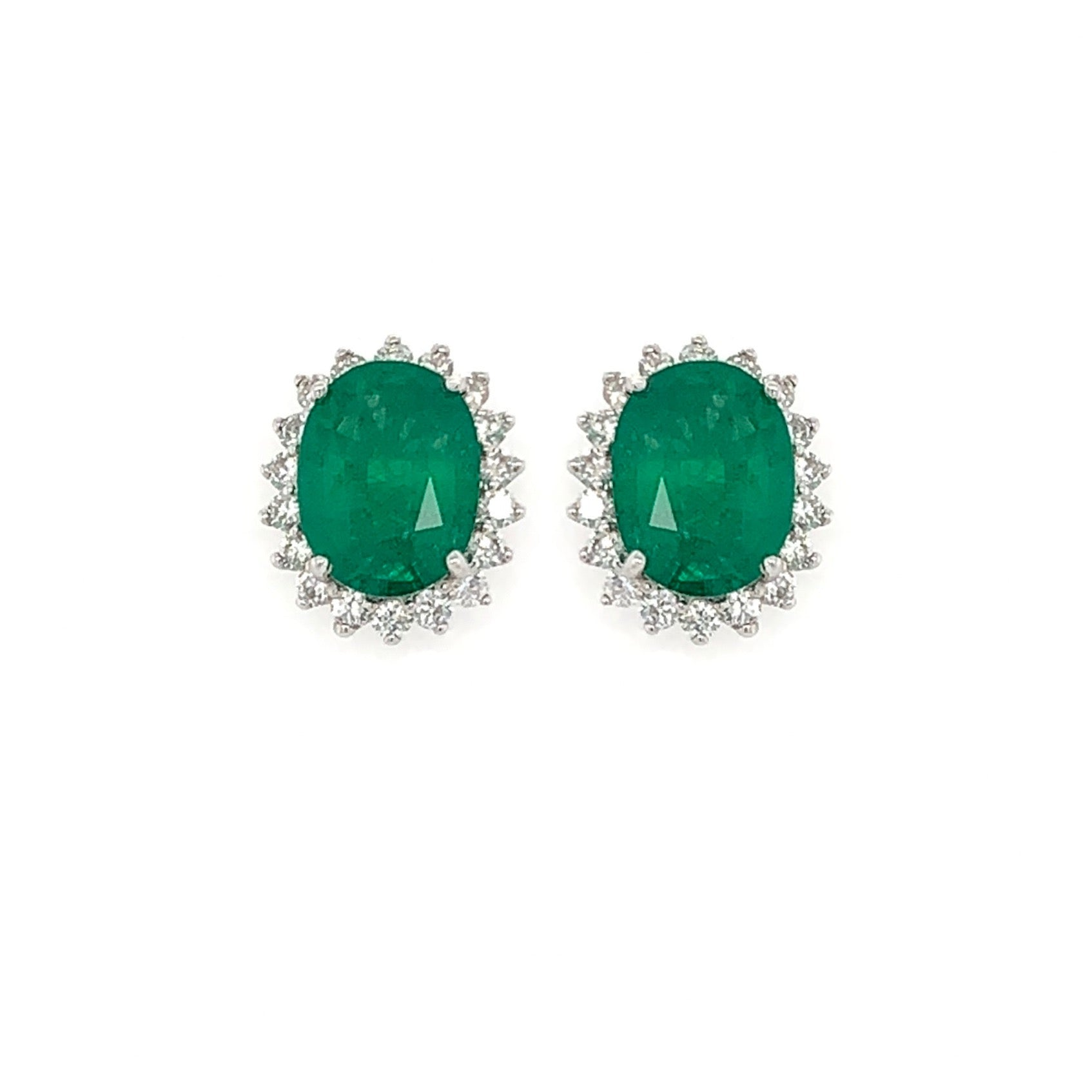 Oval Emerald & Diamond Halo Studs
