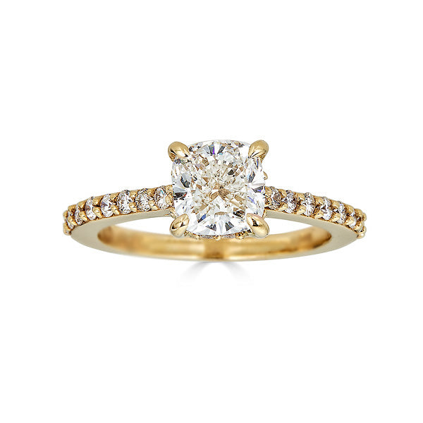 Cushion Solitaire with Pave Band Engagement Ring