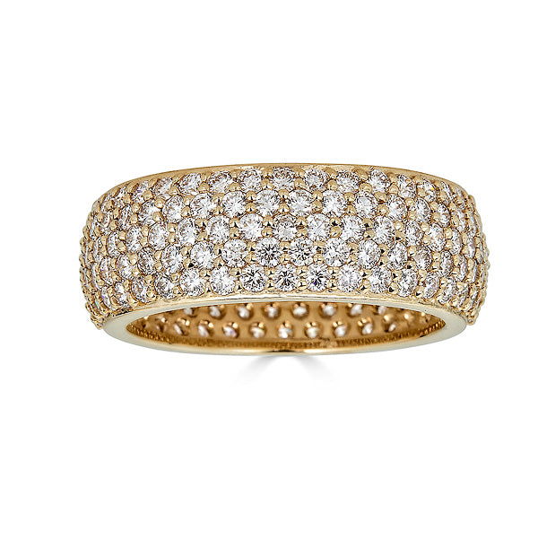 5 Row Yellow Gold Diamond Pave Eternity Band