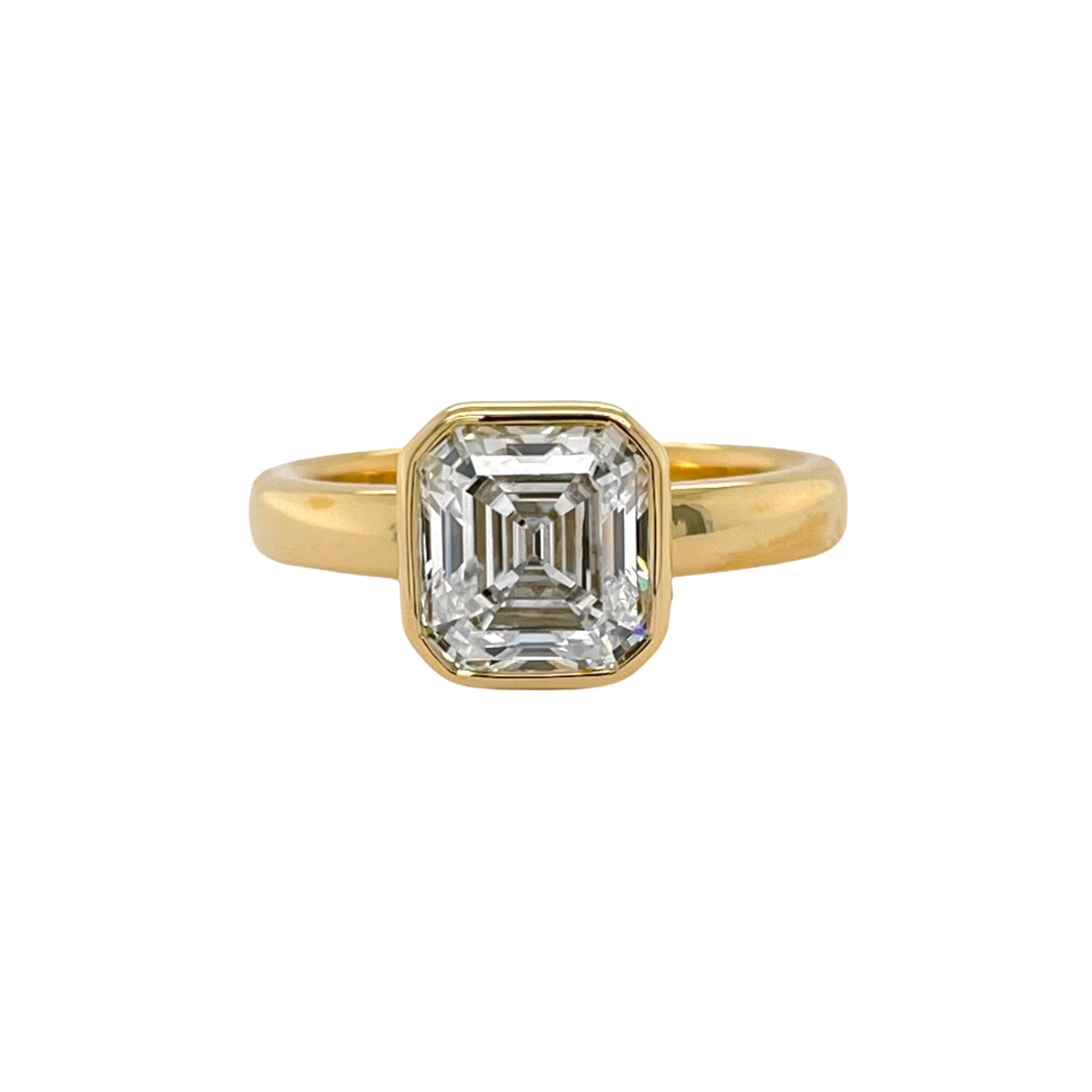 Square Emerald Cut Bezel Ring