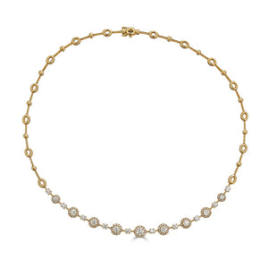 Yellow Gold Diamond Halo Necklace
