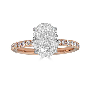 Oval Solitaire with Pave Band Engagement Ring