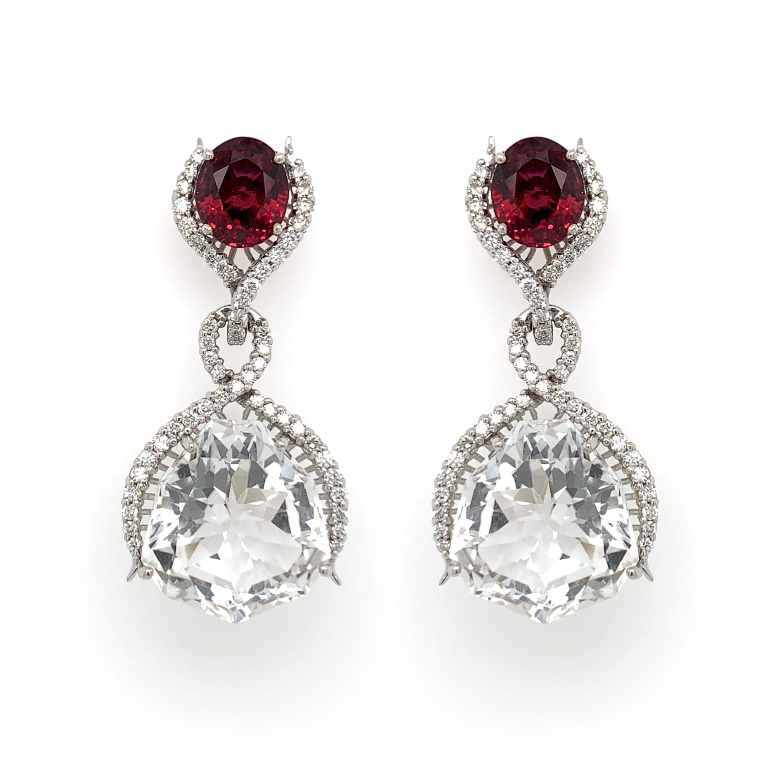 Garnet & Quartz Drop Earring