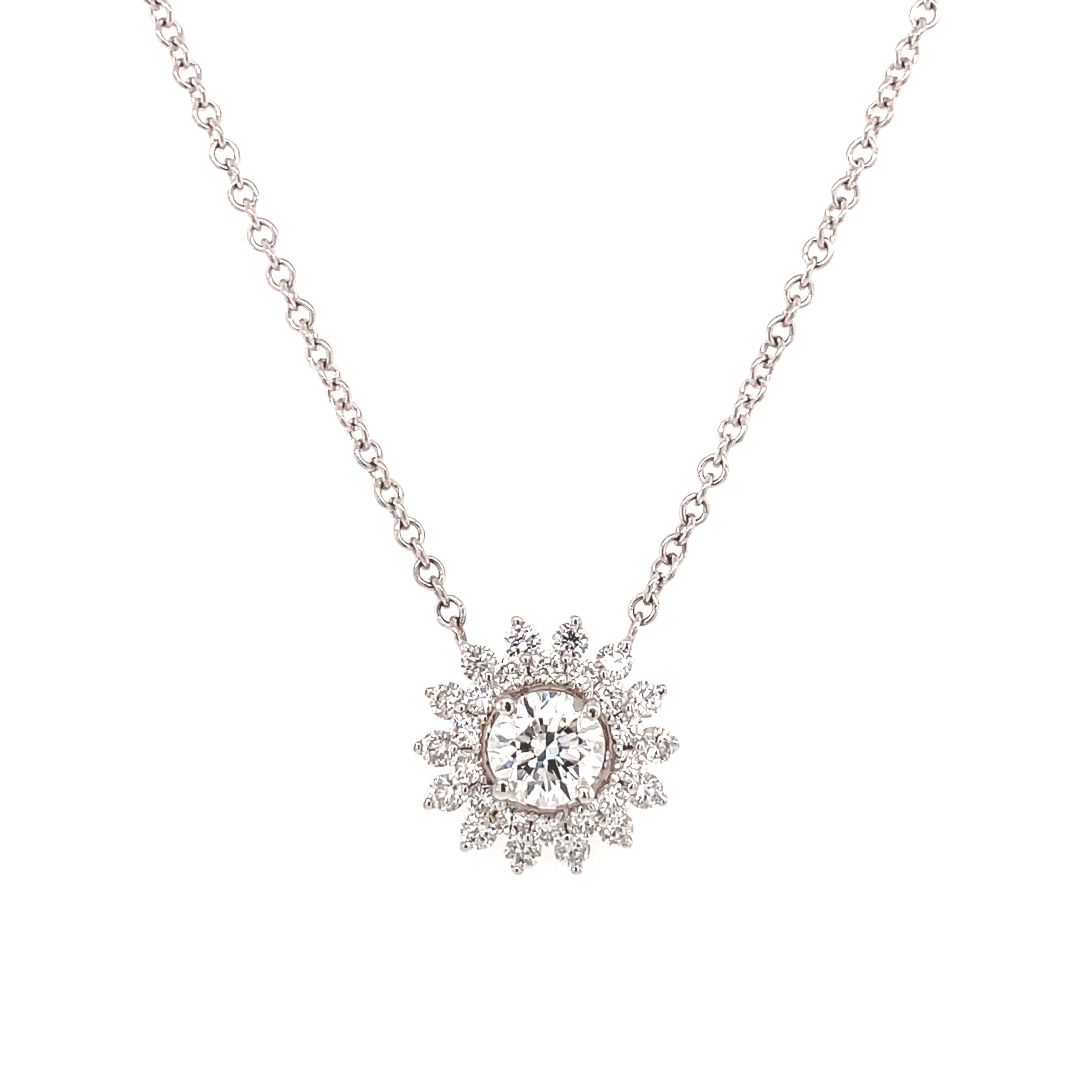 Round Brilliant Diamond Halo Pendant