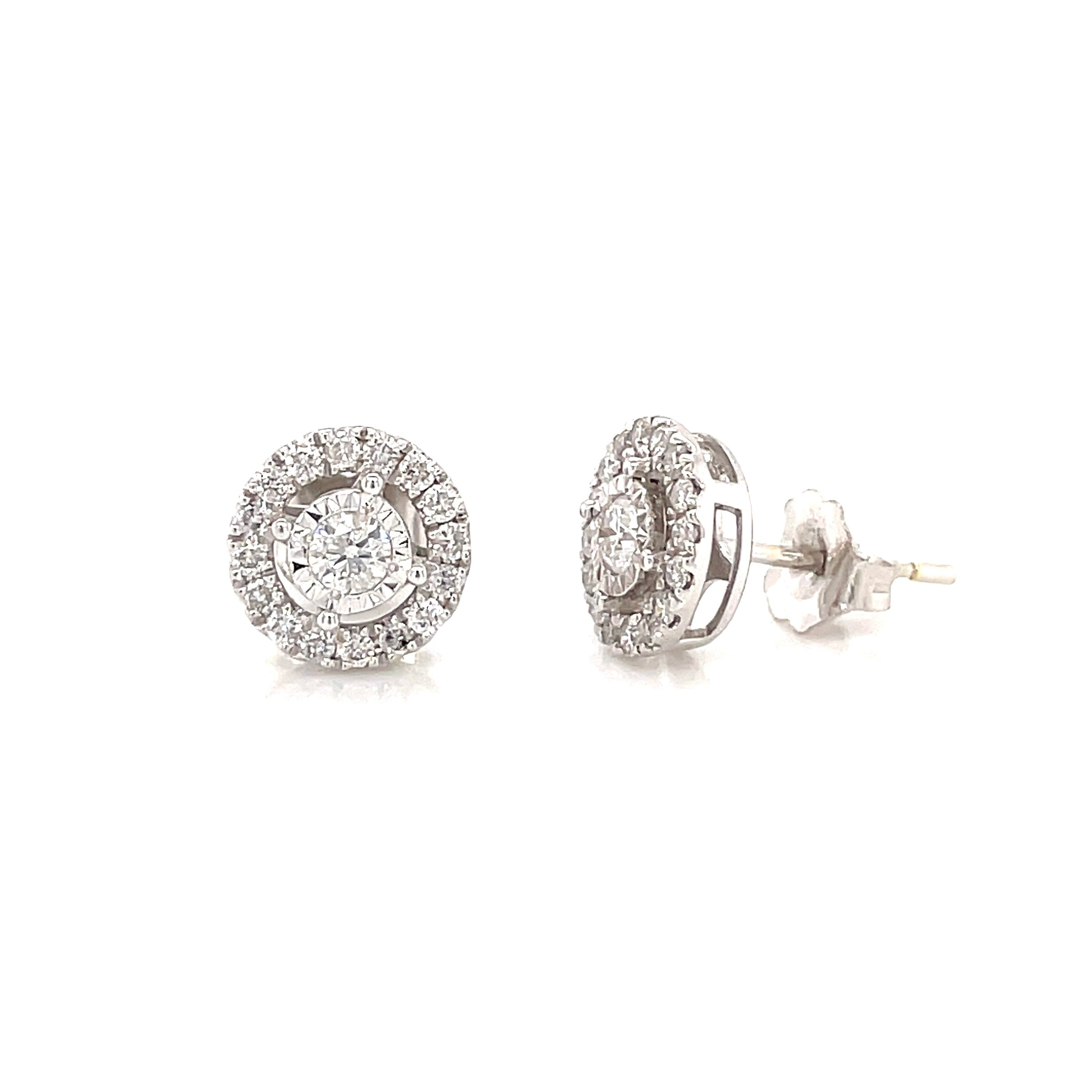 Mini Halo Diamond Studs