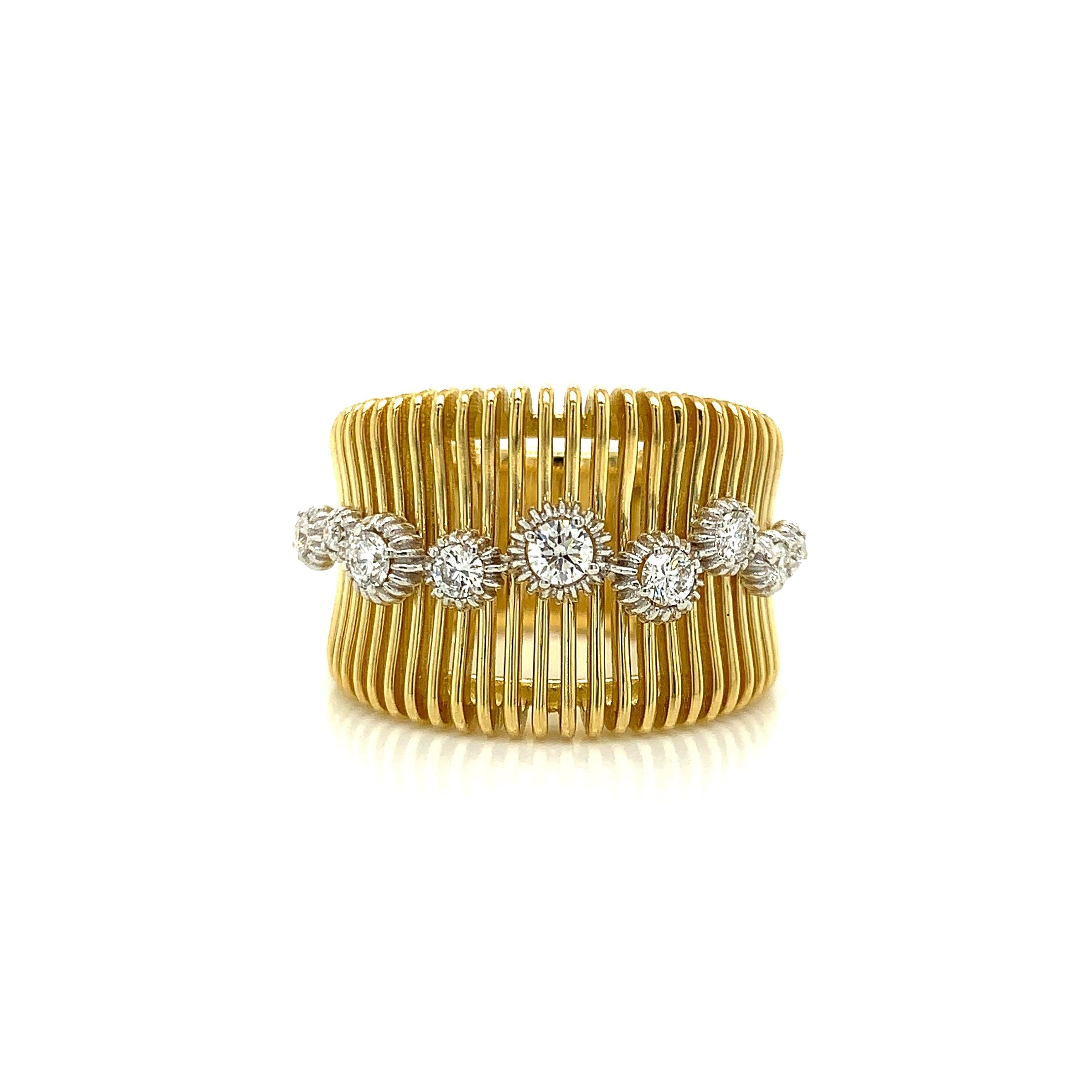 Wide Gold Ring with Diamond Accents