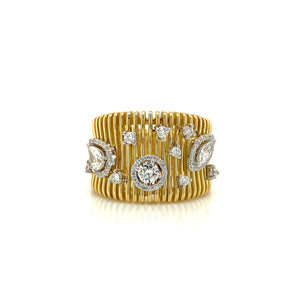 Wide Gold & Diamond Ring