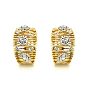 Wide Gold & Diamond Earring