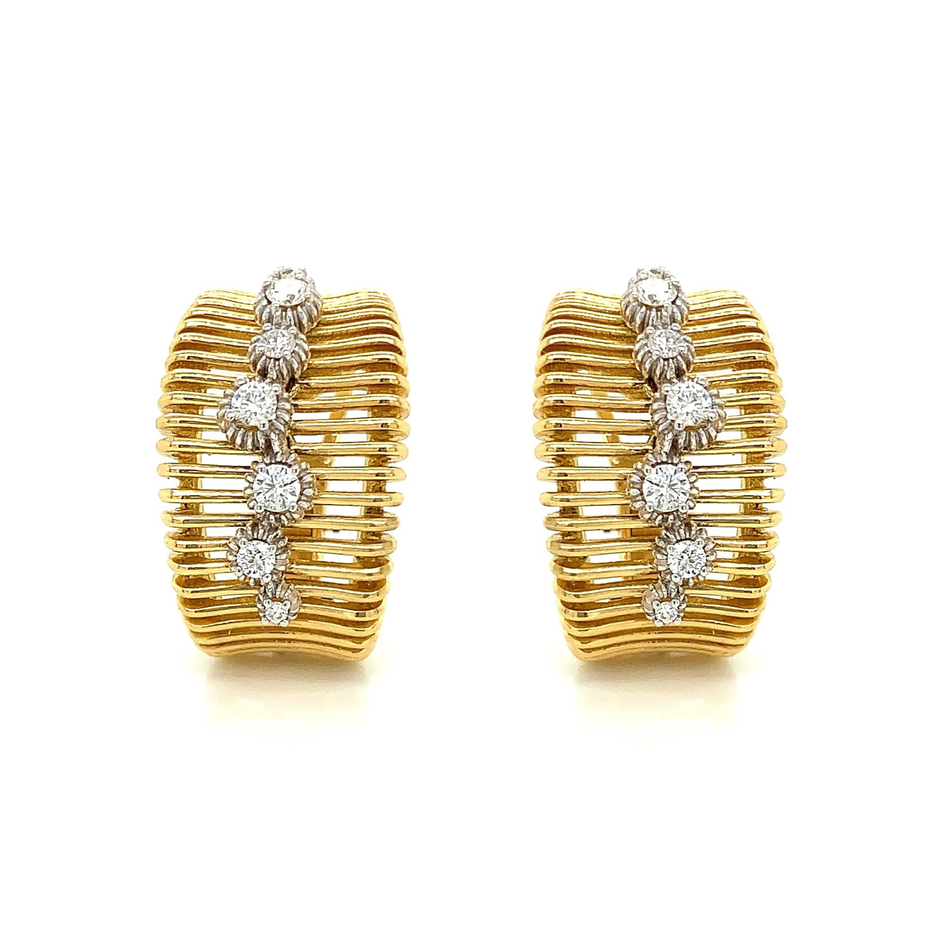 Wide Gold Earring with Diamond Accent