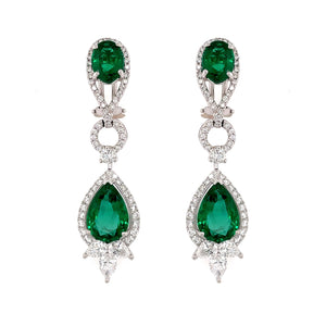 Emerald & Diamond Drop Earring