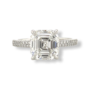 Square Emerald Cut Double Row Diamond Engagement Ring