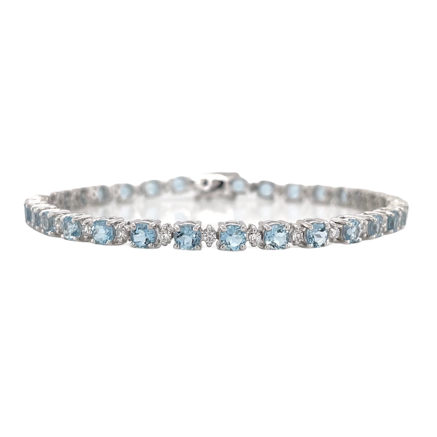 Aquamarine & Diamond Straight Row Bracelet