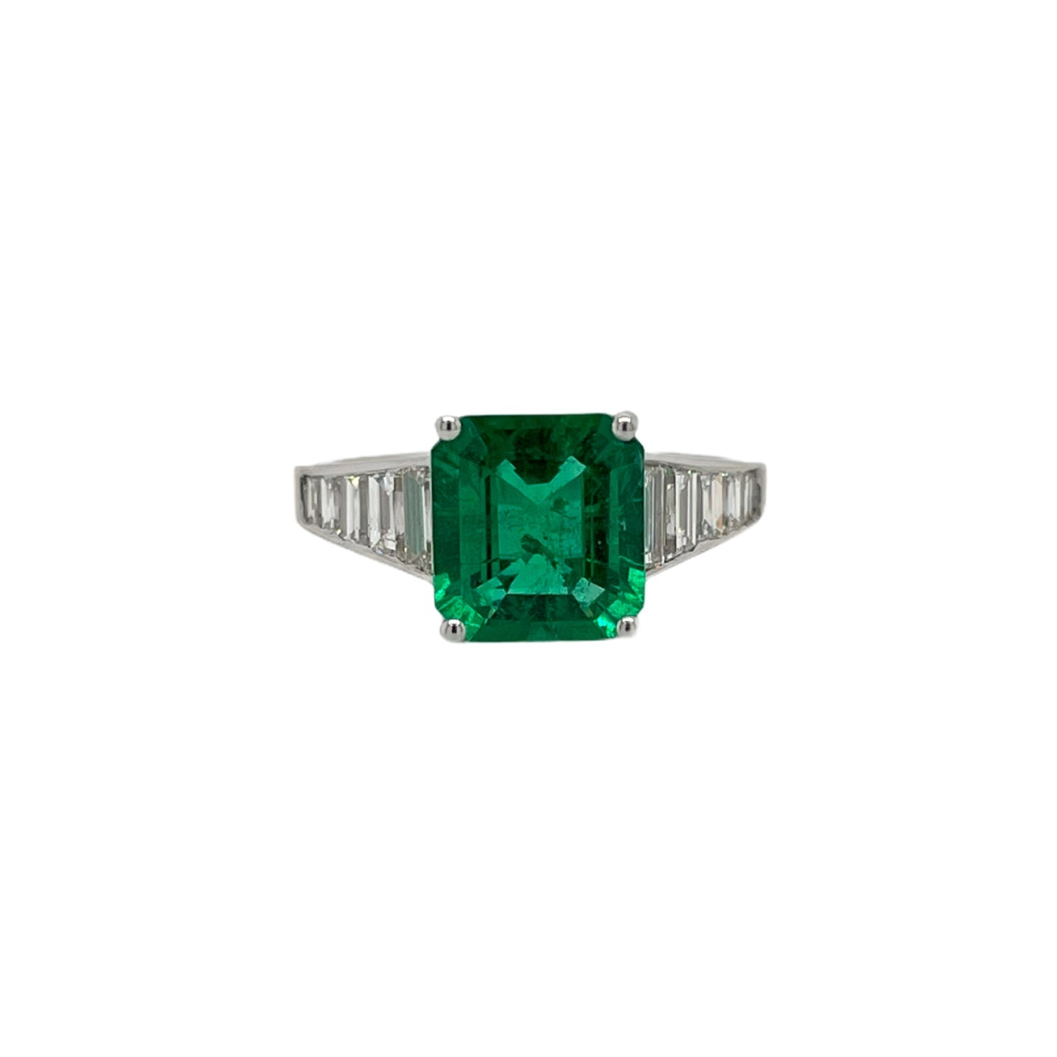 Square Emerald Cut Emerald & Baguette Ring