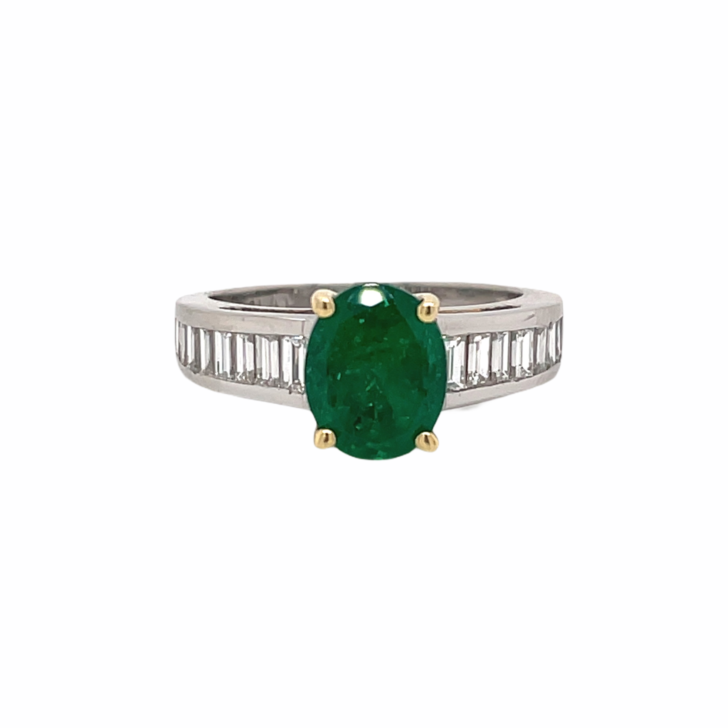 Oval Emerald & Baguette Diamond Ring