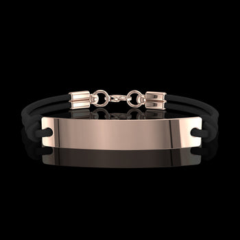 Bracelet homme or cuir Accro Or Rose 18 carats Saxomen
