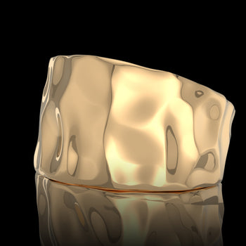 Chevalière homme or Rock or jaune 18 carats