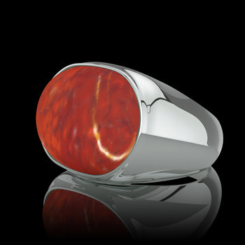 Chevalière homme or blanc BORG Agate Rouge