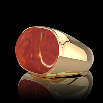 Chevalière homme or jaune BORG Agate Rouge