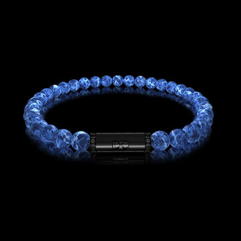 Bracelet homme or boules Sodalite diamants noirs RIVER Or Noir