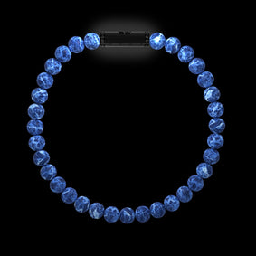 Bracelet homme or boules Sodalite diamants noirs RIVER