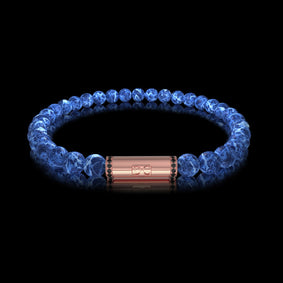 Bracelet homme or boules Sodalite diamants noirs RIVER Or Rose 18 carats