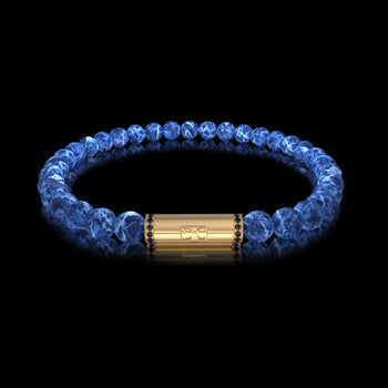Bracelet homme or boules Sodalite diamants noirs RIVER Or Jaune 18 carats