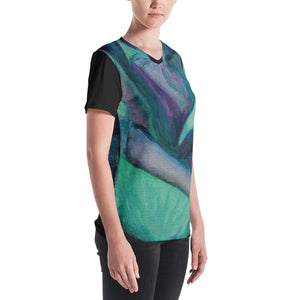 Women's V-neck - Assimilation (Teal and Purple Rose)