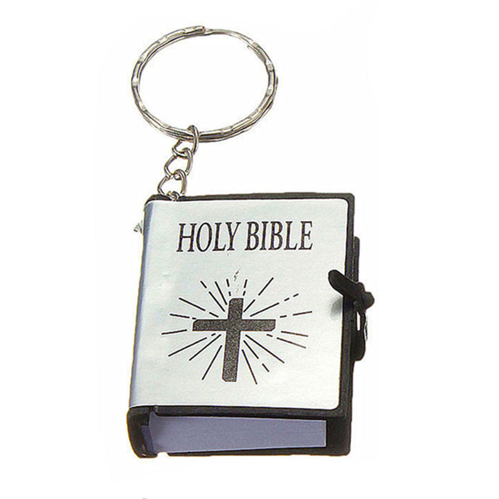 Jewelry Sets & More Key Chains Cute Mini English Holy Bible Keychains Religious Christian Jesus Cross Keyrings Women Bag Gift Souvenirs