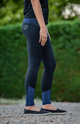 Bare Equestrian Performance Tights - Blue Storm