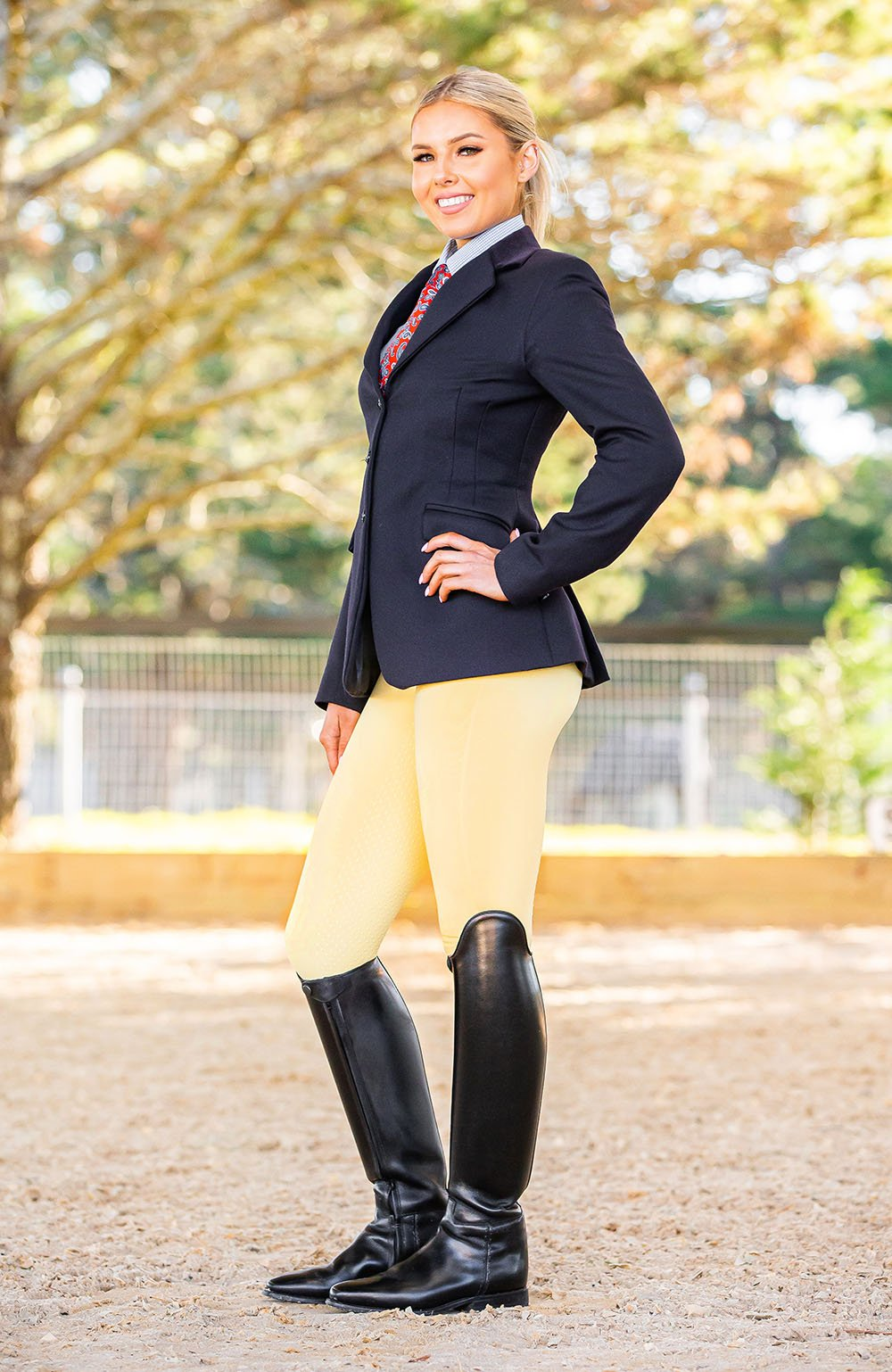 Bare Equestrian Competition Performance Tights - Lemon Butter