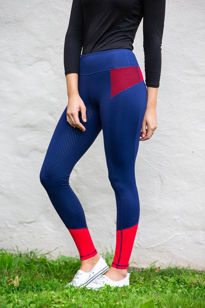 Bare Equestrian Performance Tights - Oxford Red