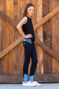 Bare Equestrian Youth Performance Tights - Periwinkle