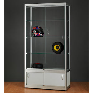 Aspire WME 1000 Glass Display Cabinet with Storage silver