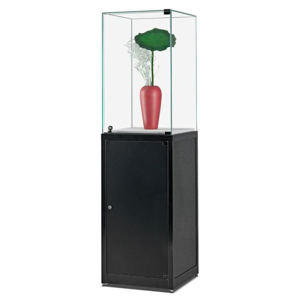 Nexus SV1 500 Pedestal with high glass top, hinged glass door and storage