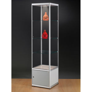 Aspire MPC 500 Glass Display Cabinet with Storage silver
