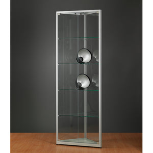 Aspire WMS 500 Glass Corner Display Cabinet silver