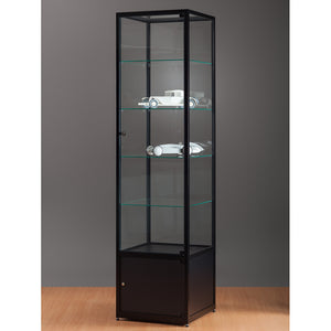 Aspire WMS 500 Glass Display Cabinet with Storage black