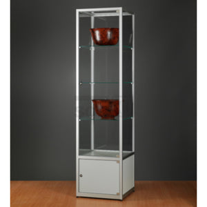 Aspire WMS 500 Glass Display Cabinet with Storage silver