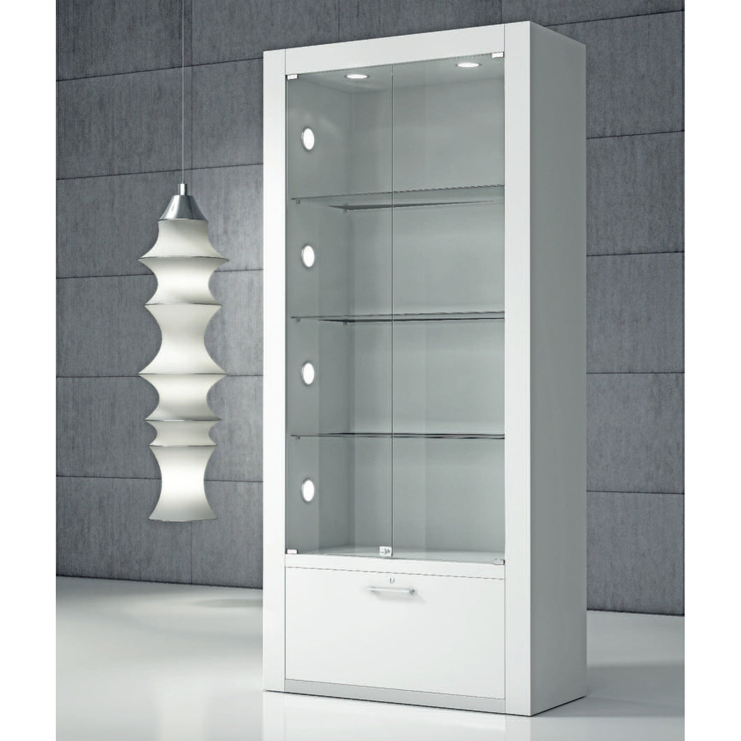 Opus Q80BF Display Showcase with Storage and Glass Back Panel