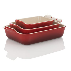 Le Creuset Heritage Stoneware 10-1/2-by-7-Inch Rectangular Dish, Cerise (Cherry Red)